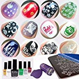 Kit 2x Esmaltes Estampación Uñas Profesionales + 4x Placas + Estampador Morado y Raspador, Set Personalizado - Elegir cualquier 4 plantillas + Elegir cualquier 2 colores para los esmaltes de stamping