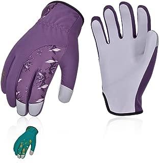 Vgo 2Pairs Ladies' Goatskin Leather Gardening Gloves(Size M,Blue&Purple,GA7454)