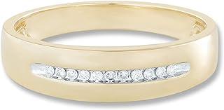 1/10 cttw Men's Diamond Aligned Ring With 10K Gold