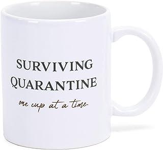 Surviving Quarentine White 11 Ounce Ceramic Novelty Coffee Mug