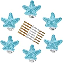 Handmade Cute Decorative Ceramic Dresser Knobs with 3 Size Mounting Screws Joyindecor Daisy Flower Drawer Pulls Handles for Baby Nursery Kids Room Cupboard Wardrobe Cabinet Blue 6 Pack