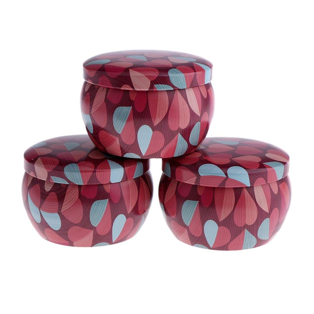 シャープ幼児余裕があるF Fityle 3個 キャンドル缶 DIY お茶 ジャー メタル ポット 化粧品詰替え容器 4タイプ選べ - A