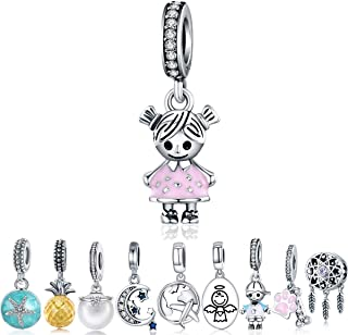 WOSTU Charm Bracelets Charms Luxury Sterling Silver Enamel Magnolia Dangle Charms fit Charms Bracelets