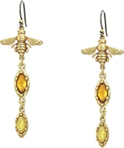 Bee Coin Stone Drop Earrings