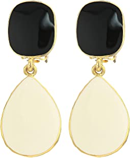 Gold Black Enamel Top/White Enamel Drop Clip Earrings