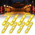 Xprite Led Rock Light for Bed Truck, 24 LEDs Cargo Truck Pickup Bed, Under Car, Foot Wells, Rail Lights, Side Marker LED Rock Lighting Kit w/Switch Yellow - 8 PCs