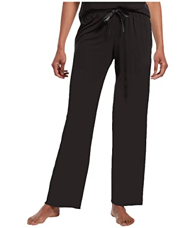 HUE Plus Size Solid Long PJ Pants with Temp Tech (Black) Women