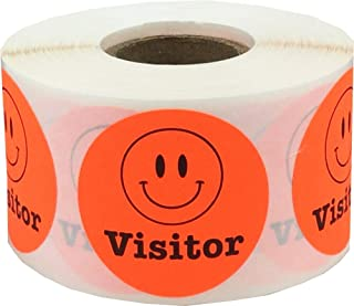 Smiley Face Visitor Labels Fluorescent Red 1 1/2 Inch Round Circle Dots 500 Adhesive Stickers