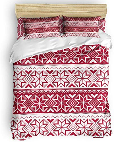 Duvet Cover Set, 3 Piece Nordic Snowflake Knit Patterns Red Bedding Set - 1 Quilt Cover 2 Pillow Cases for Childrens/Kids/Teens/Adults