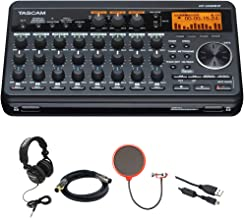 Tascam Compact Portastudio 8 Track Digital Recorder w/Built in Microphone DP-008EX + Closed-Back Headphones + XLR 10' M-F 16AWG Gold Plated Cable + Pop Filter Mic Wind Screen w/Mic Stand Clip