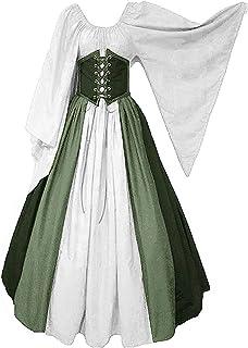 Blau und Wei/ß, L CDE Damen Vintage Lang Mittelalter Kost/üm Gothic Viktorianisches Cosplay Kleid Renaissance Wirtin Maxikleid f/ür Party Karneval