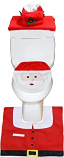 Happy Santa Toilet Seat Cover and Rug Set Red - Christmas Bathroom Decorations - Set of 3
