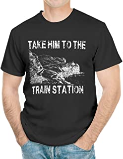 HYPOWELL Take Him to The Train Station Funny Train Shirt Short Sleeve T-Shirt for Men