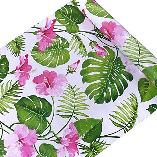 Vinilo Autoadhesivo Decorativo Tropical Floral Muebles Etiqueta de Papel Estante Cajón Forro Papel Pintado para Paredes Armarios de Cocina Cómoda Cajón Muebles de Mesa 45CMx3M