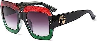 نظارات شمسية مربعة كبيرة الحجم من FEISEDY بإطار لامع متعدد الألوان مستوحاة من الأناقة B2276