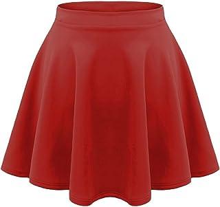 8051286556 unbranded Kids Girls Children HIGH Waisted Stretch Plain Flippy Flared Short  Skater Skirts 5-13