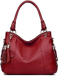 Fanspack Women Tote Bag Tote Handbag Fashion Tassel Large Capacity PU Leather Shoulder Bag