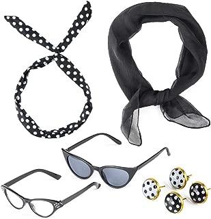 50's Costume Accessories Set 1950's Chiffon Scarf Cat Eye Glasses Bandana Tie Headband Drop Dot Earrings