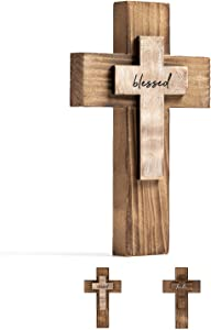 Wall and Table Wooden Cross Prayer Cross Christians Cross Holy Spiritual Religious Cross Gifts with Hook on Hanging Wall or Table or Hand Held with Blessed Motivation Cross for Church Home Room Decoration for Easter Christmas