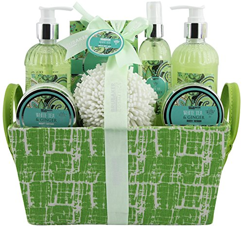 BRUBAKER Cosmetics set beauty da bagno e doccia 'White Tea & Ginger' - con fragranze floreali di tè bianco e zenzero - set regalo in 9 pezzi presentati in un cestino con ansa ai lati