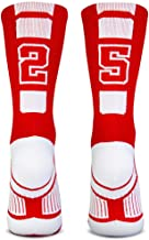 Custom Team Number Crew Socks | Athletic Socks by ChalkTalkSPORTS | Red | Choose Your Number