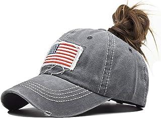 INOGIH Women American-Flag Embroidery Ponytail-Baseball Hat Washed Distressed Messy-Bun Hat Adjustable