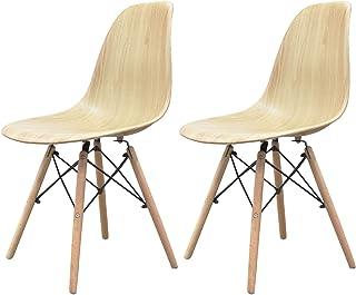 【2脚セット】 シェルチェア イームズ椅子 ダイニングチェア おしゃれ 重ねられる 北欧 リプロダクト 脚部も同色デザイン カフェ・ダイニング・オフィス用 ナチュラル木脚 ウッド座面