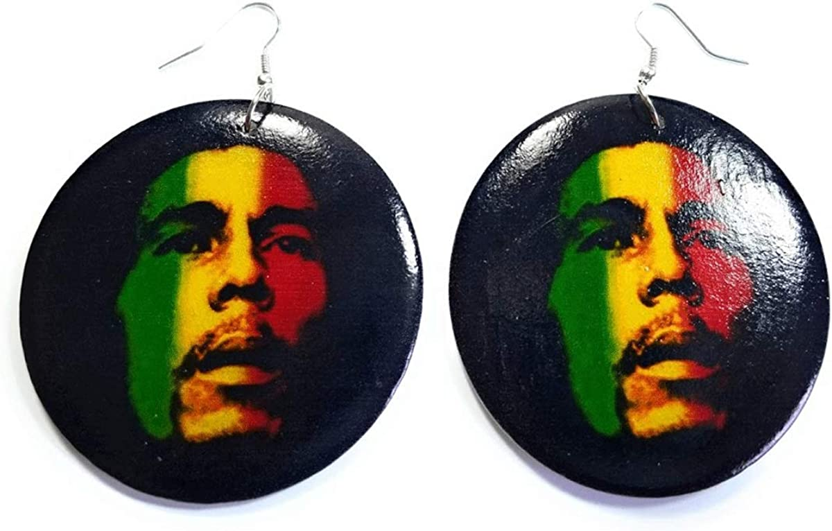 Teri's Boutique Rasta Reggae Lover Jamaican Music Singer Round Circle Fish Hook Dangle Earrings