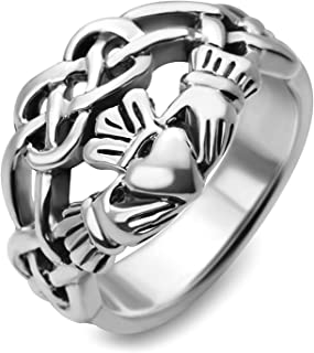 Handmade Sterling Silver Celtic Knot Infinity Symbol Irish Claddagh Friendship and Love 4 CM Wide Band Ring Size-4,5,6,7,8,9