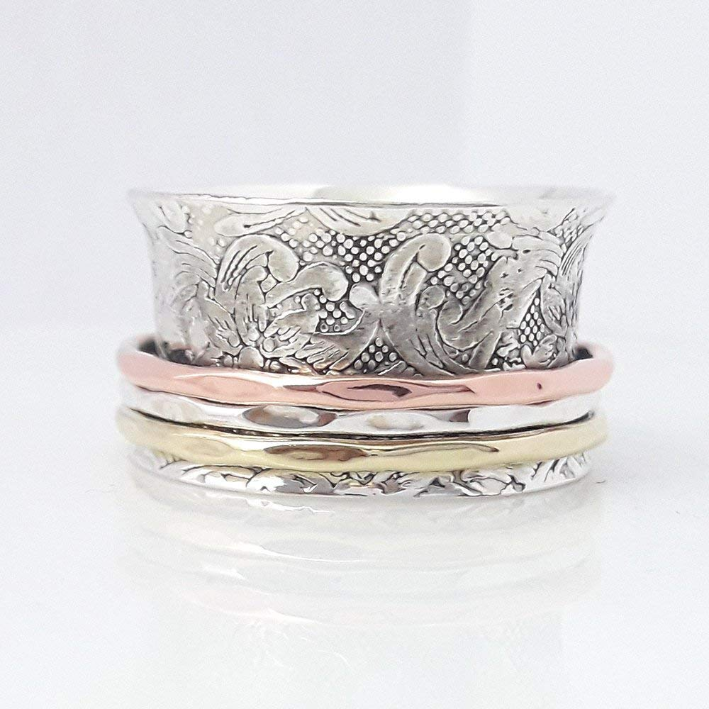 925 Sterling Silver Spin Rings Girls Womens Mens Rapid rise for Free shipping anywhere in the nation Meditati