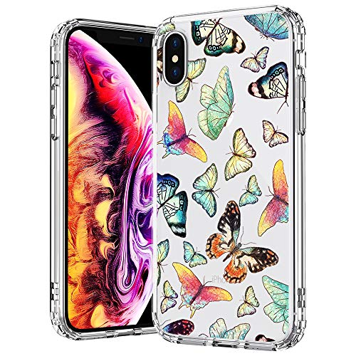 MOSNOVO Case for iPhone Xs/iPhone X, Fashion Butterfly Pattern Clear Design Transparent Plastic Hard Back Case with TPU Bumper Protective Case Cover for iPhone X/iPhone Xs