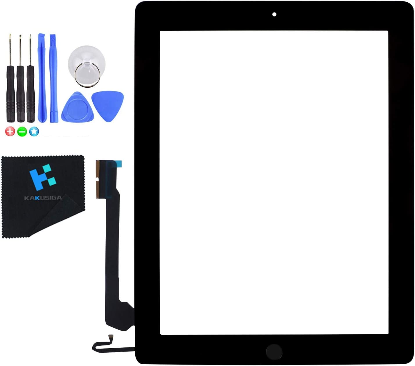 KAKUSIGA Compatible for ipad 4th Generation Touch Screen Glass Digitizer Replacement, Home Button Flex, Adhesive Tape, Repair Tools kit (Black)