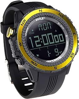 Digital Multifunction Sports Wrist Watch - Smart Fit Classic Men Women Sport Running Training Fitness Gear Tracker w/ Altimeter, Barometer, Compass, Timer, Weather Forecast - Pyle PSWWM82YL (Yellow)