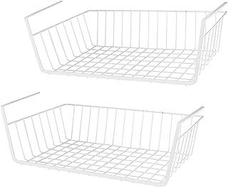 LOTTS Panier de rangement sous étagère (36,7 x 25,2 x 9,2 cm) en fil métallique à suspendre sous l'étagère - Panier de ran...