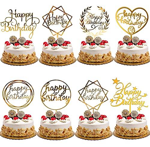 Nuyoah 16Stk Cake Topper Happy Birthday Tortendeko Cupcake Topper Geburtstag Kuchendeko Geburtstag Acryl Glitter Tortenstecker für Kinder Mädchen Junge Party Baby