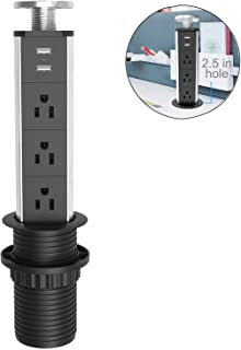 Jgstkcity UL Approval Retractable Pull Pop Up Power Outlet with 2 USB Ports,2.5inch Round..