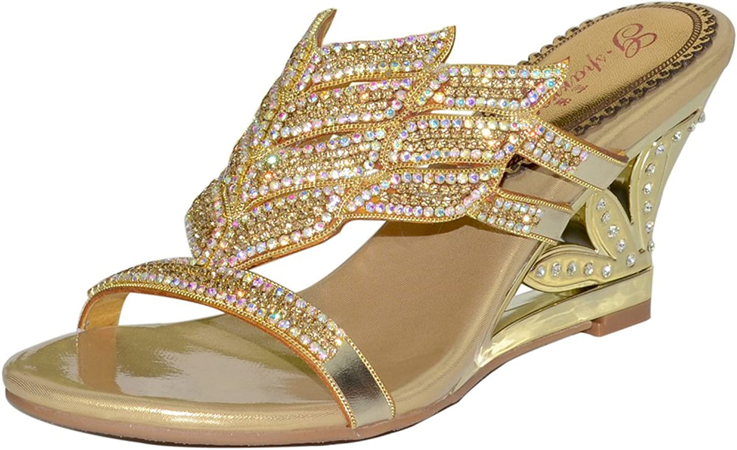 C&C Women's Outdoor Genuine Leather Crystal Sandal Fashion Slippers