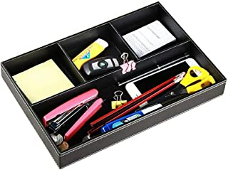 YAPISHI Valet Tray Men Nightstand Organizer 4 Compartments PU Leather Office Table Stationery Storage Box for Key Phone Coin Wallet Jewelry Glasses Cosmetics Business Card Pen Watch Note Paper (Black)