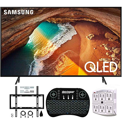 "Samsung QN65Q60RA 65"" Q60 QLED Smart 4K UHD TV with 1 Year Warranty (2019 Model)(Renewed) Flat Wall Mount Bundle with Deco Gear 2.4GHz Wireless Keyboard Smart Remote and 6-Outlet Surge Protector"
