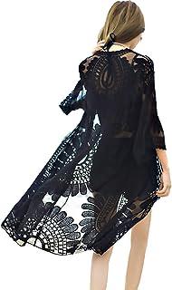 شيرماي فلورال كيمونوس للنساء شاطئ كروشيه ملابس السباحة تغطية طويلة الأكمام خمر كيمونو سترة