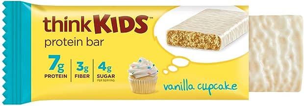 thinkKIDS Protein Bars - Vanilla Cupcake 7g Protein, 3g Fiber, 4g Sugar, No Artificial Flavors or Colors, Gluten Free, GMO Free*, 1 oz bar (5 Count)
