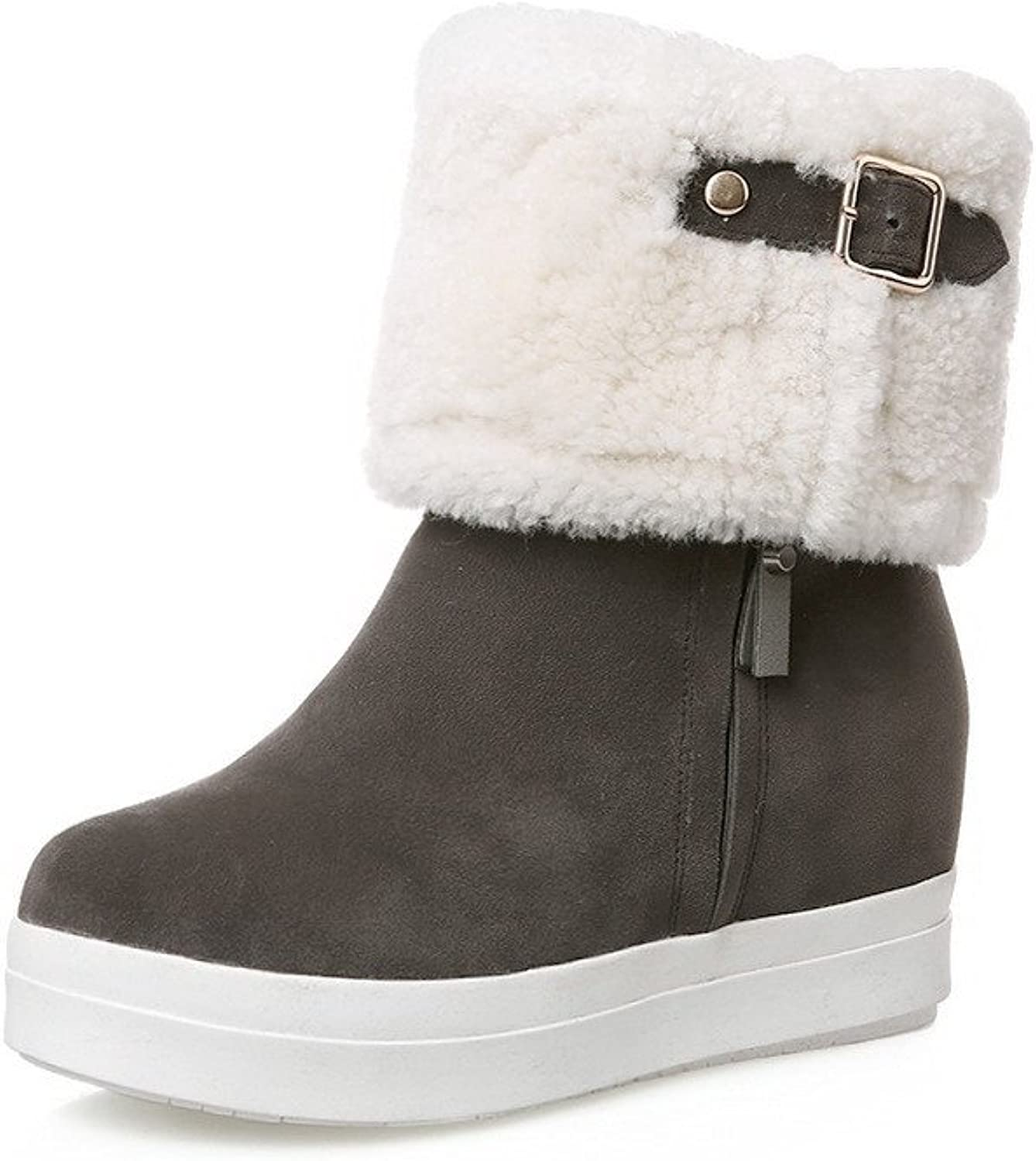 WeenFashion Women's Assorted color Round Closed Toe Blend Materials Flock Low-Top Boots