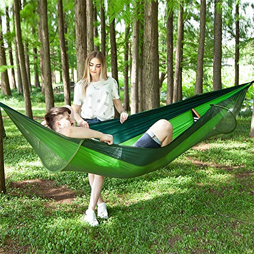 HULDORO Sizing : 290 x 140cm (Camouflage), Portable Outdoor Bivouacking Full-automatic Nylon Parachute Hammock with Mosquito Internet travel hammock (Color : Green)