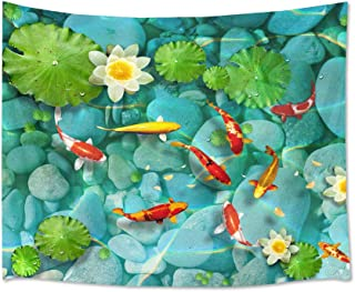 HVEST Fish Tapestry Japanese Carp in Lotus Pond Wall Hanging Flowers and Green Leaves Tapestries for Bedroom Living Room Dorm Party Decor,60Wx40H inches