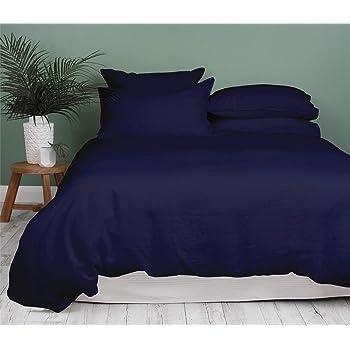 Kotton Culture Premium Duvet Cover 100% Egyptian Cotton 600 Thread Count with Zipper & Corner Ties Luxurious (Queen/Full, Navy Blue)