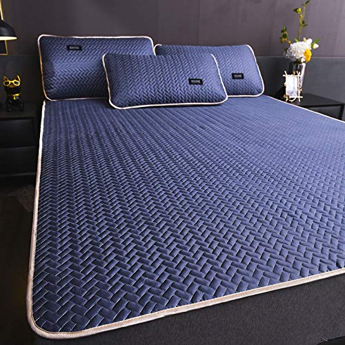 WYSTLDR Summer ice silk mat, winter and summer dual-use washable sheets, foldable mattress Royal Blue [ice silk soft mat] 100 * 200cm+pillow*1
