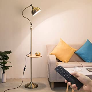 Lampe Sur Pied Lampadaires Retro Nostalgic Lampadaire, Table de Bout avec Tablettes et éclairage Permanent, Abat-jour Sem...