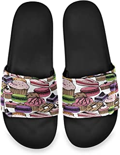 All agree Birthday Sweets Macaron Cake Men's Summer Sandals Slide House Adjustable Slippers Non Skid Boys