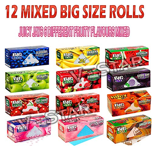 12 Mixed Juicy Jays Different Fruity Flavours Big Size Rolls Rolling Smoking Papers