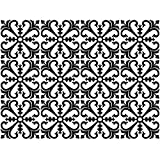 decalmile 12 Pcs Decorative Tile Stickers 15cmX15cm Classic Black and White Moroccan Peel and Stick Self Adhesive Tile Backsplash Vinyl Waterproof Kitchen Bathroom Furniture Stairs Home Decor (6'X6')
